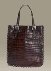 Bottega Veneta Truffle Soft Crocodile Fume Tote – Classic Elegance Bag