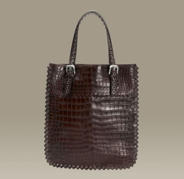 Bottega Veneta Truffle Soft Crocodile Fume Tote &#8211; Classic Elegance Bag