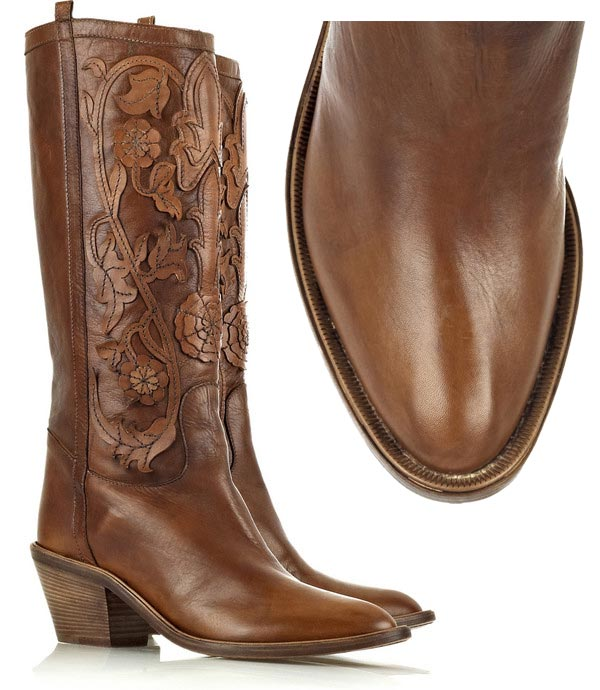 Roberto Cavalli Leather Applique Cowboy Boots &#8211; Stylish Footwear for the Country Chick