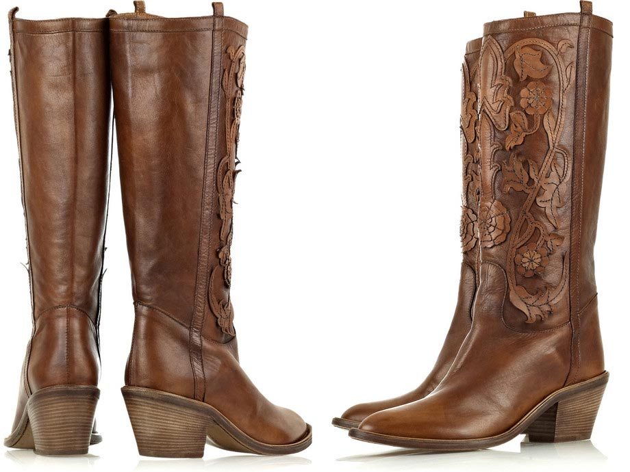 Roberto Cavalli Leather Applique Cowboy Boots - Stylish Footwear ...