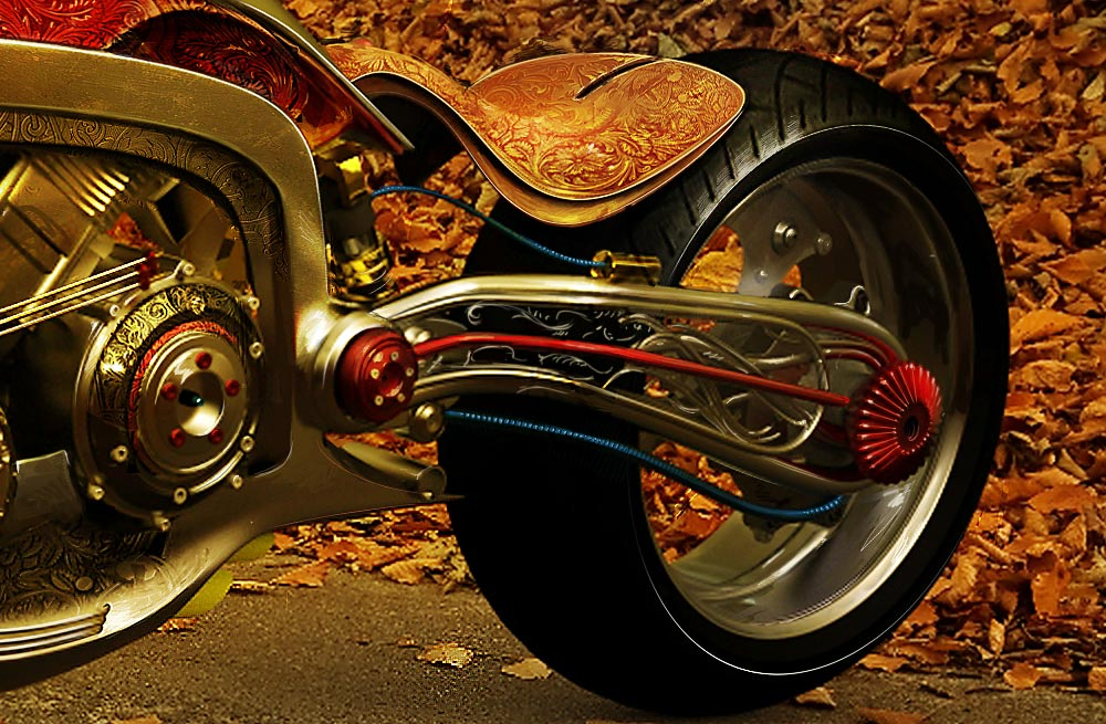 Seraphim – Golden Motorcycle by Mikael Lugnegard