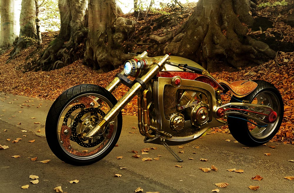 Seraphim Mikael Lugnegards golden motorcycle 3