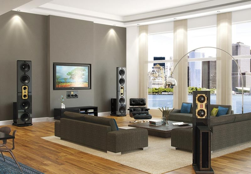 Steinway lyngdorf ls sound system home audio systems for Modern living room gray