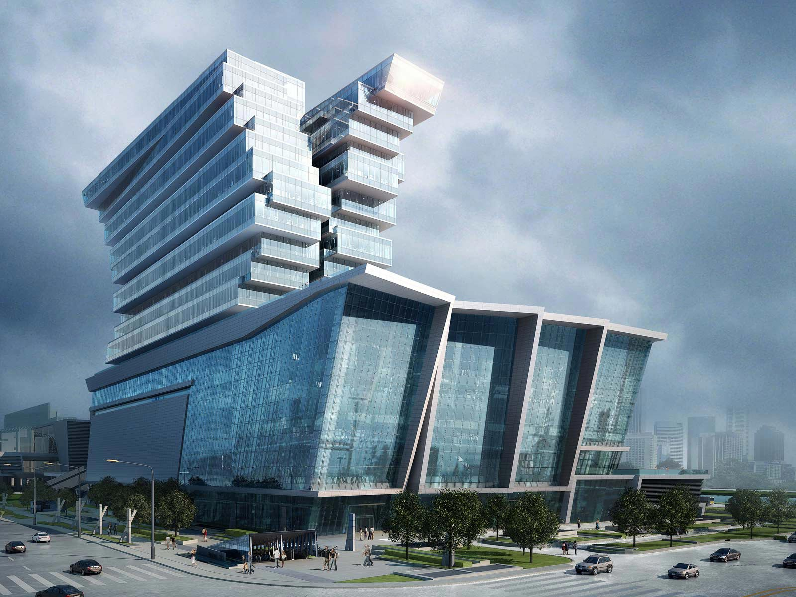 Pazhou hotel and mixed use development unique design for Hotel building design