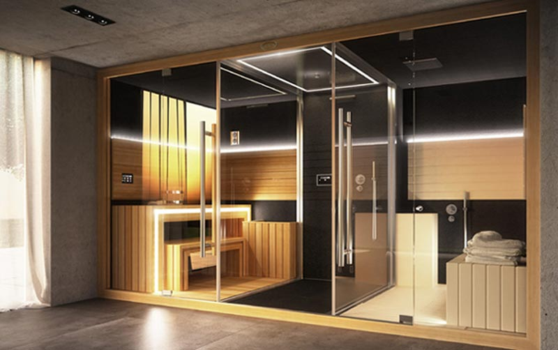 luxury home spa combines a sauna shower and a hammam extravaganzi