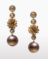 Lugano's Cognac Diamond and Pearl Earrings – Perfect Accessory for Special Occasions