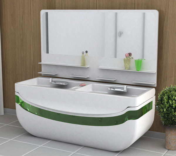 Whirlpool Bath Tub & Washbasin Unit