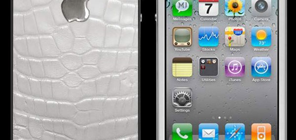 Apple-iPhone-4-White-Exotic-Leather-MJ-Edition---Crocodile-Skin-with-White-Gold-Apple