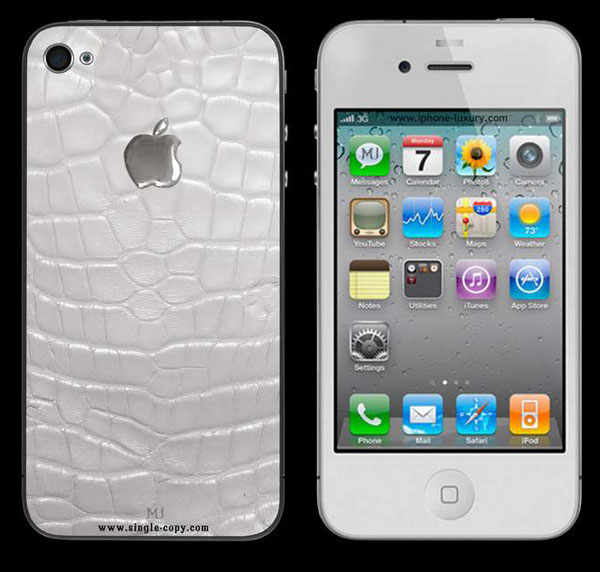 Luxury MJ iPhone 4 Limited Edition Cases in Animal Skin with White Gold and Diamond Apple