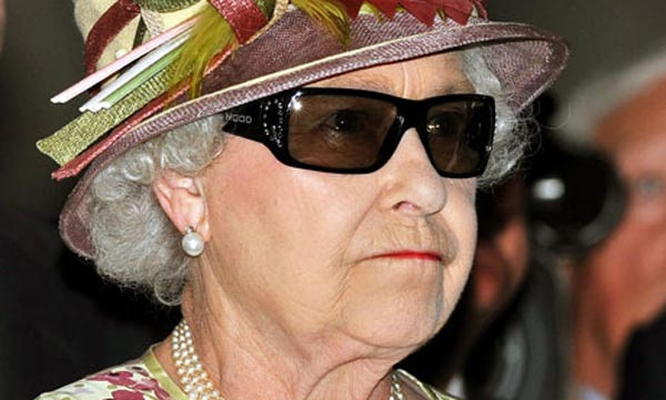 Queen Elizabeth II Wears Swarovski Crystal Encrusted 3D Glasses