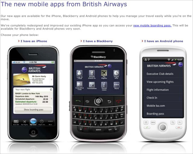 British Airways Mobile Applications