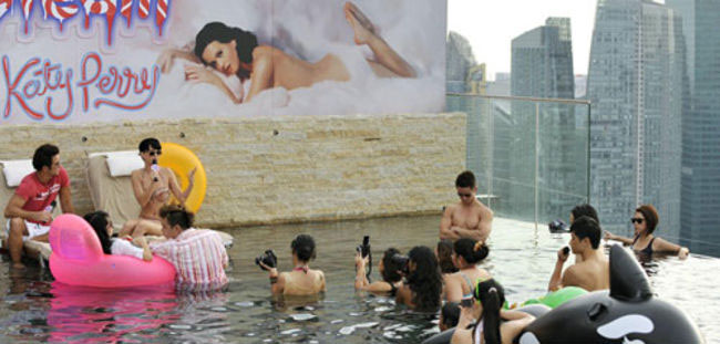 Katy Perry in Infinity Pool at Marina Bay Sands SkyPark