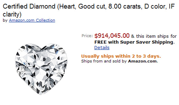 $914,045 Heart Shaped Diamond is Most Expensive Amazon Product