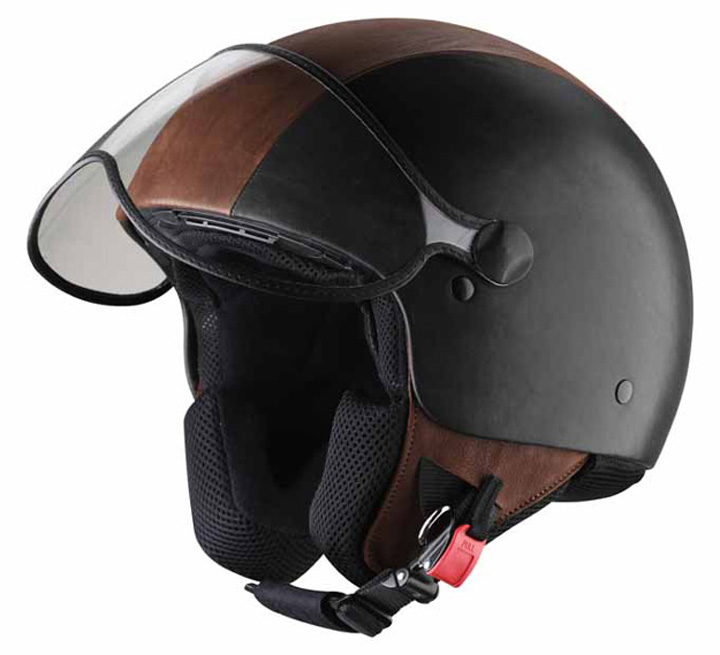 Pineider Black and Brown Leather Helmet