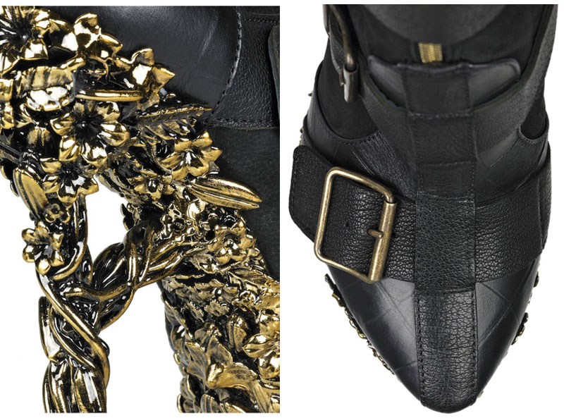 Alexander McQueen Floral Engraved Boots