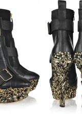 Alexander McQueen Floral Engraved Boots as Designed for Lady Gaga