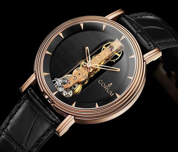 Corum Round Golden Bridge Watch Re-issued in 18k Red Gold Case