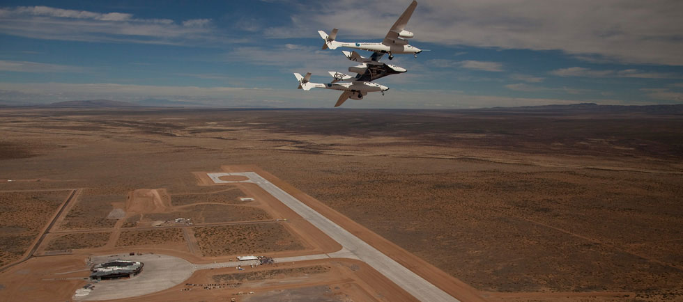 VSS Enterprise fly over Spaceport America