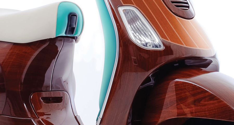 Digital Veneer's Limited Edition Tribute Vespa Drawing Influences from Retro Italian Mahogany Speedboats