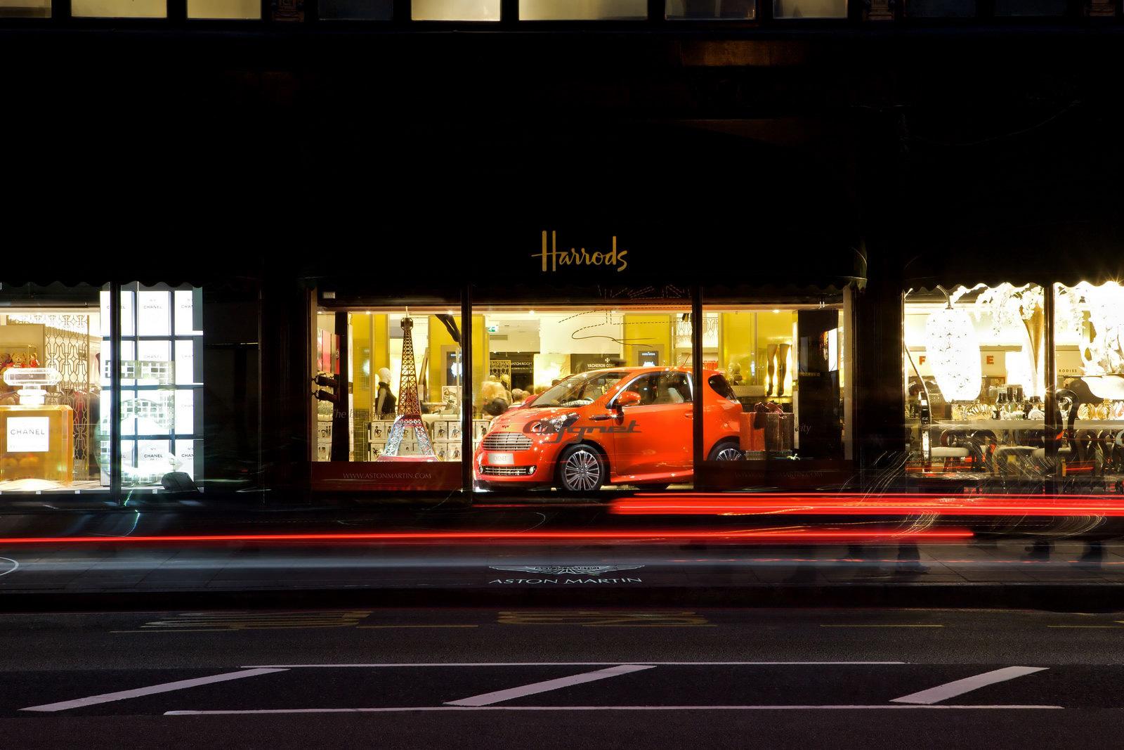 Aston Martin Cygnet Debut in Harrods Window