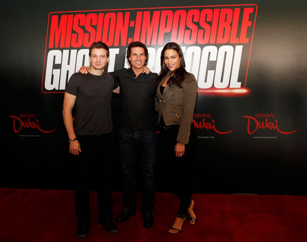 Jeremy Renner, Tom Cruise and Paula Patton at news conference for Mission Impossible 4: Ghost Protocol in Dubai