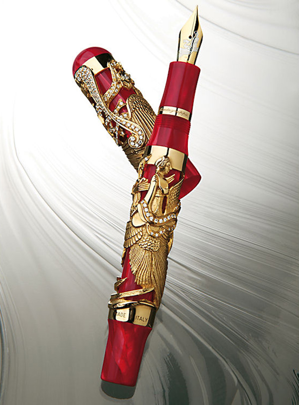 Montegrappa Eternal Bird Diamonds and Gold Fountain Pen