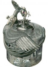 Limited Edition Montegrappa Eternal Bird Yellow Gold and Sterling Silver Ink Bottle