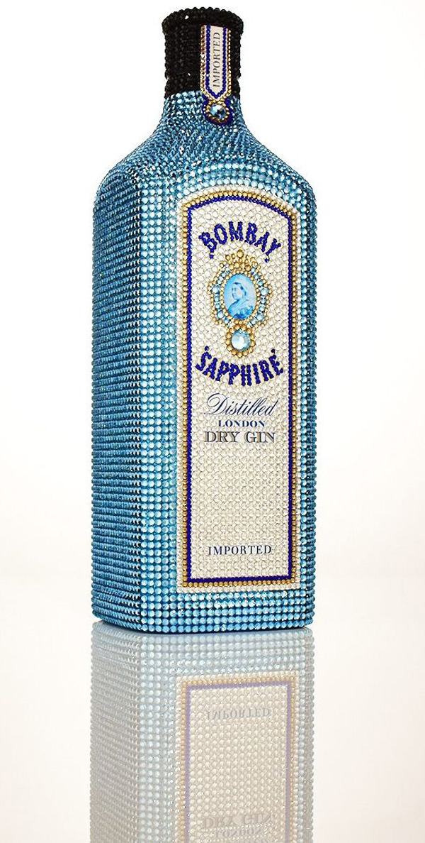Bombay Sapphire bottles hand decorated with Swarovski crystals