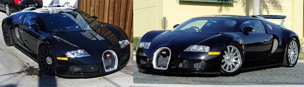 Porsche Boxster converted into Bugatti Veyron and Real Bugatti Veyron