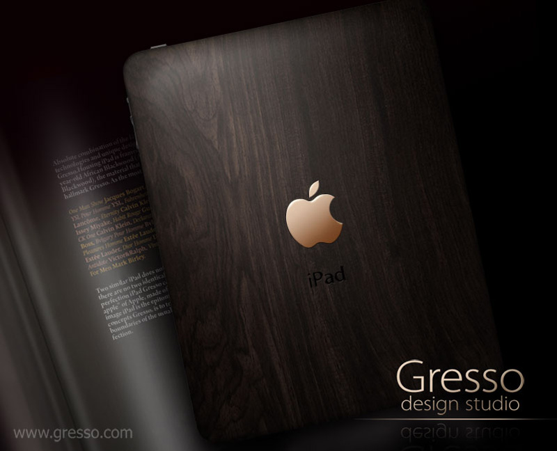 Gresso iPad crafted in 200-Year-Old wood and 18 ct Gold Apple Logo
