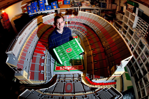 Paul Jannsen with LEGO Replica of Ohio State's Stadium