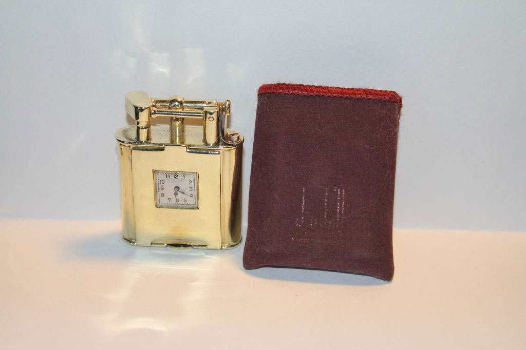 Rare Art Deco Dunhill 14k Gold Swing Arm Lighter Watch