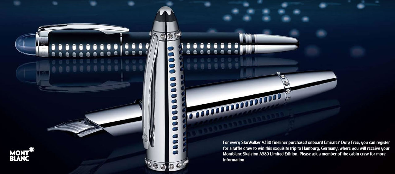 Limited Edition Montblanc Skeleton A380 Pen Exclusively Designed for Emirates A380 VIP Members