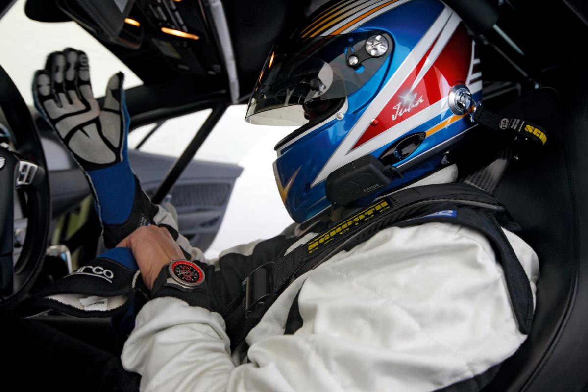 Recordsetting driver, Juha Kankkunen, wears a limited edition Bentley Supersports Light Body watch