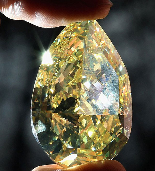 110 Carat Cora Sun-Drop - The World's Largest Yellow Pear-Shaped Diamond
