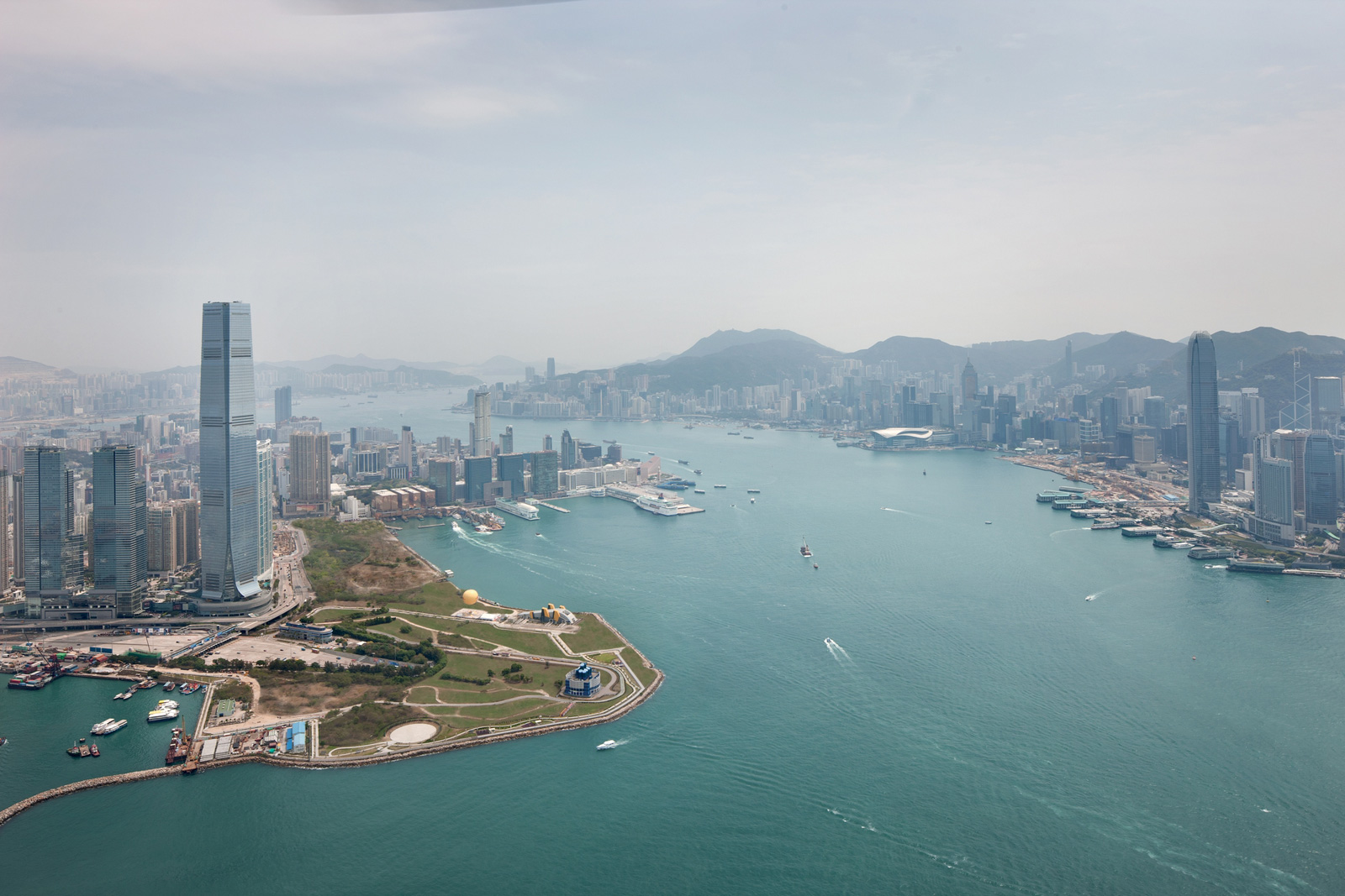 Aerial View of The Ritz-Carlton, Hong Kong Hotel and Harbor