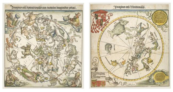 Albrecht Dürer's maps of the Northern and Southern skies