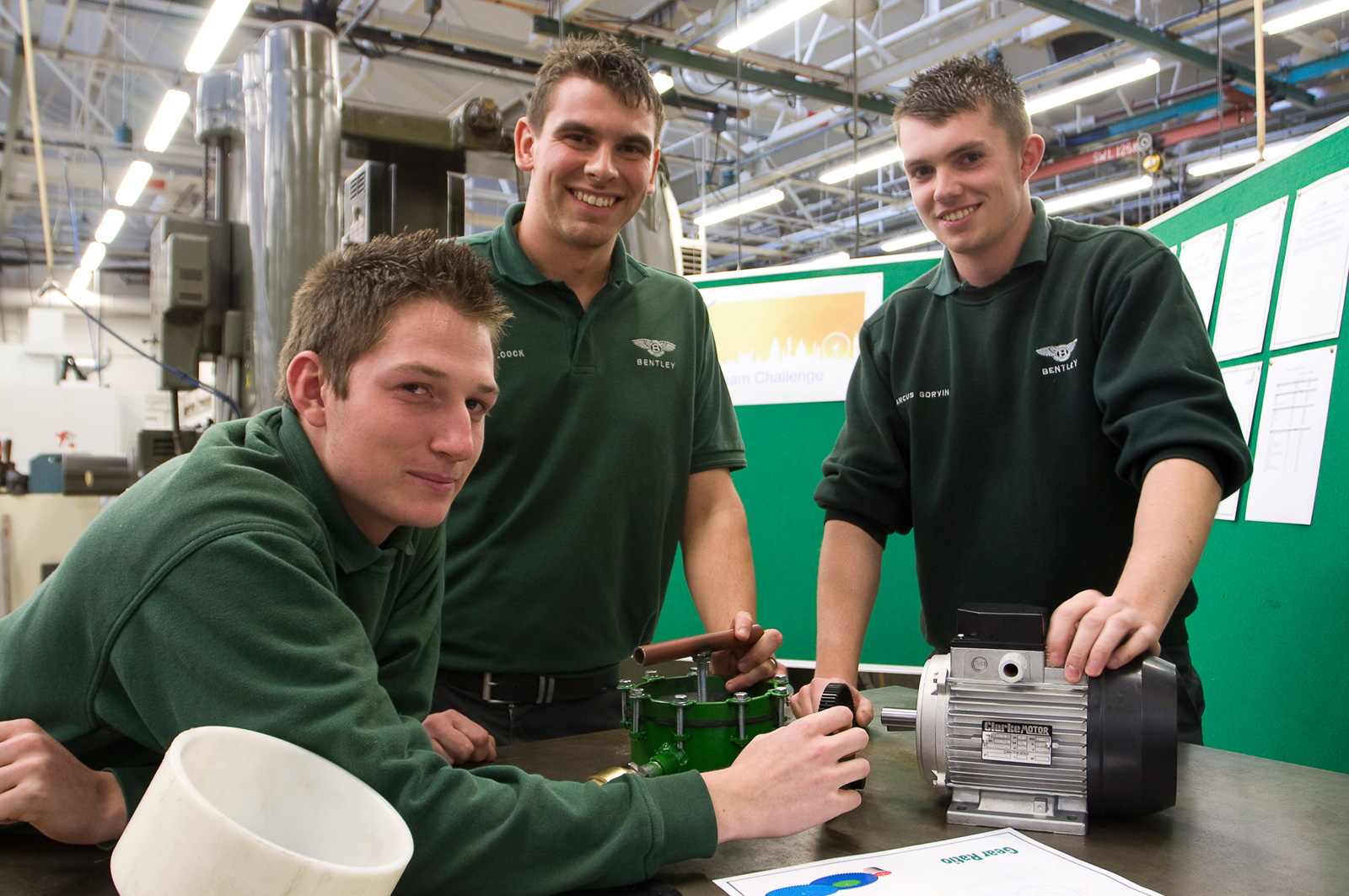 Bentley craft apprentices Reece Jenks , Paul Alcock and Marcus Gorvin in the Bentley tool room training for the manufacturing team challenge at World Skills 2011