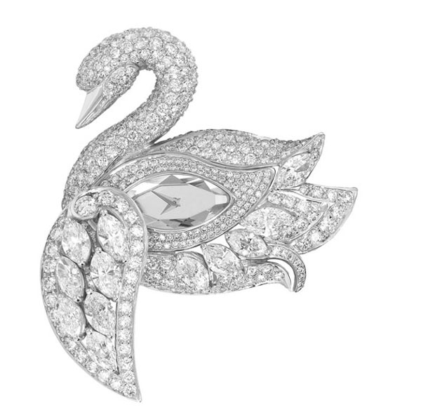 Graff's Diamond Swan Watch Rests on a Diamond Bracelet
