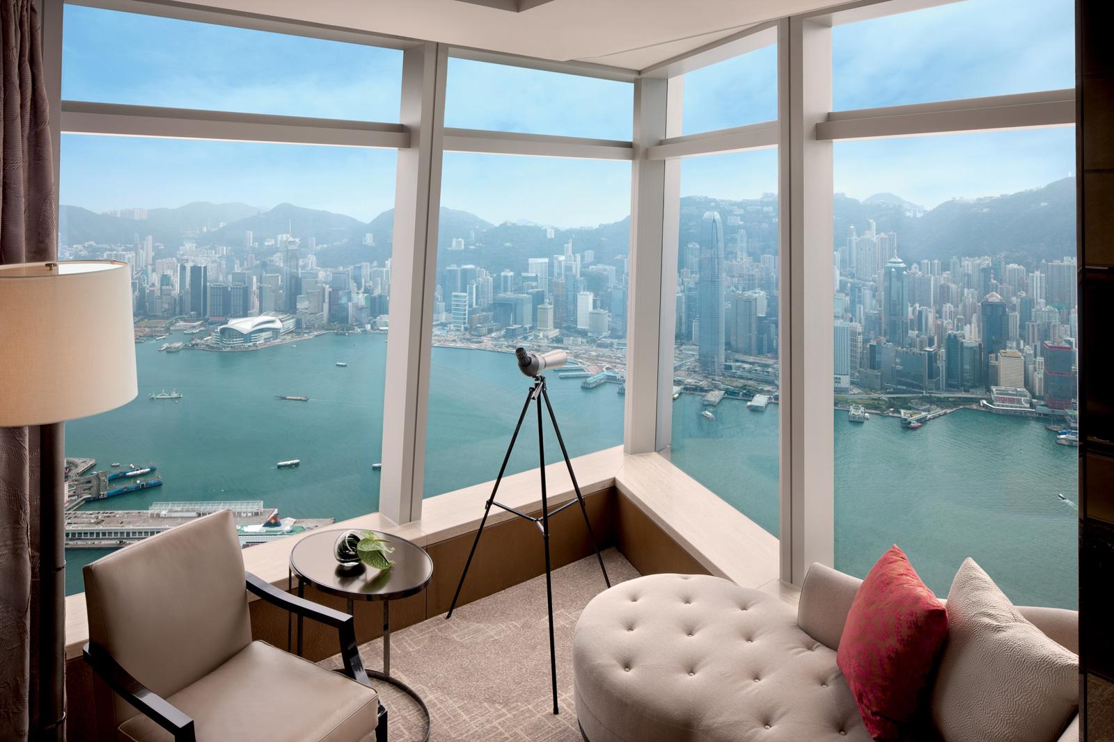 Interior room with view of harbor and city at The Ritz-Carlton, Hong Kong