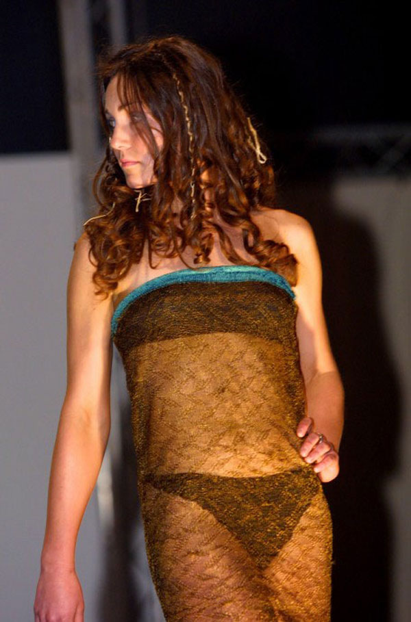 Kate Middleton models on the catwalk at a student fashion show (March, 26, 2002)
