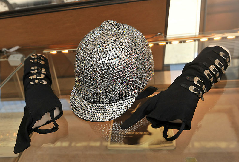 """Michael Jackson's """"Bad"""" Album Cover Worn Gloves and """"Triumph"""" Tour Crystal Studded Riding Helmet"""