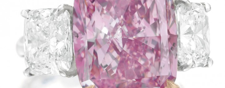 10.09 Carats Fancy Vivid Purple-Pink Cushion-Cut Diamond Ring