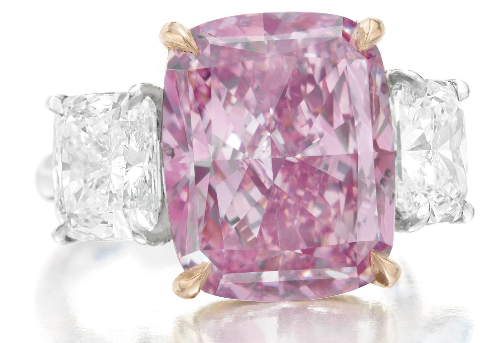 10.09 Carats Fancy Vivid Purple-Pink Cushion-Cut Diamond Ring