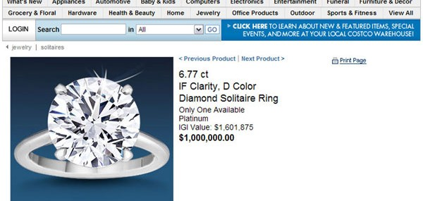 6.77 ct IF Clarity, D Color, Diamond Solitaire Ring