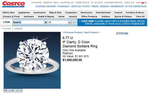 $1 Million Costco Diamond Ring Threatens To Endanger The Cartier And Tiffany