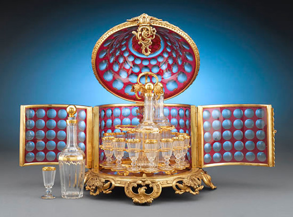The French-style Baccarat Ruby Glass Cave Liqueur Set