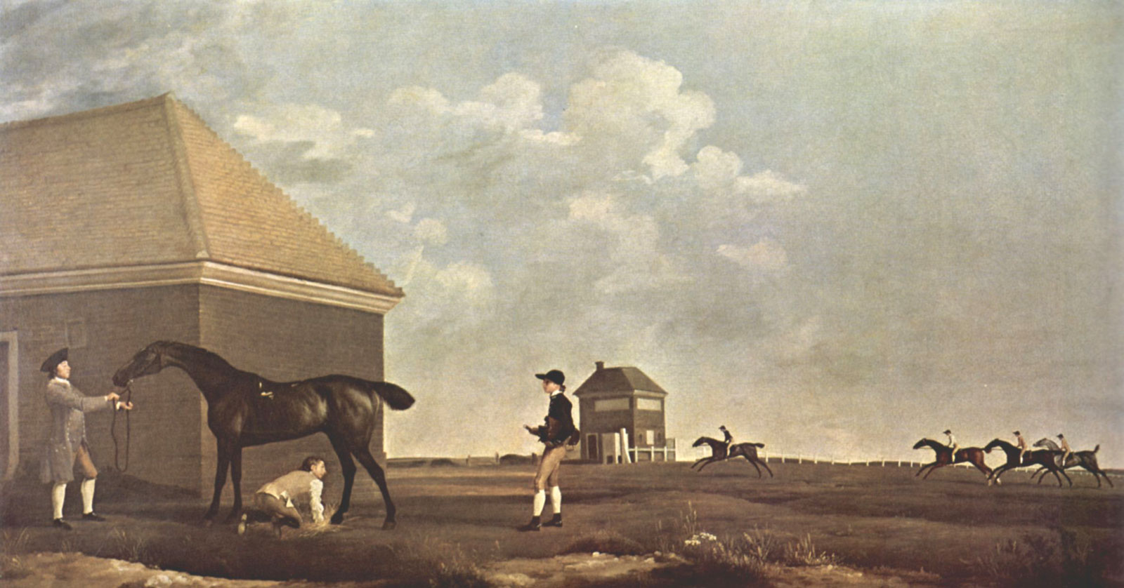 George Stubbs' Gimcrack on Newmarket Heath, with a Trainer, a Stable-Lad, and a Jockey