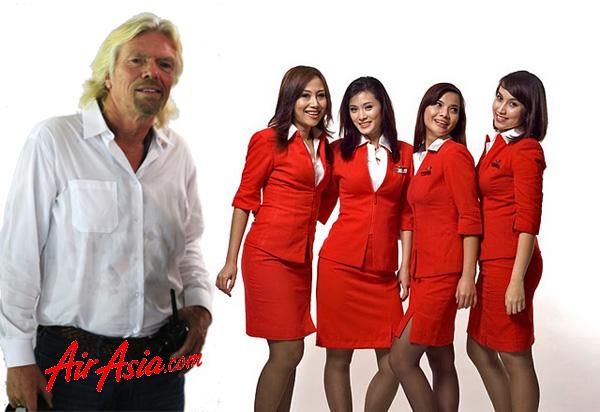 Richard Branson to Work as AirAsia Stewardess