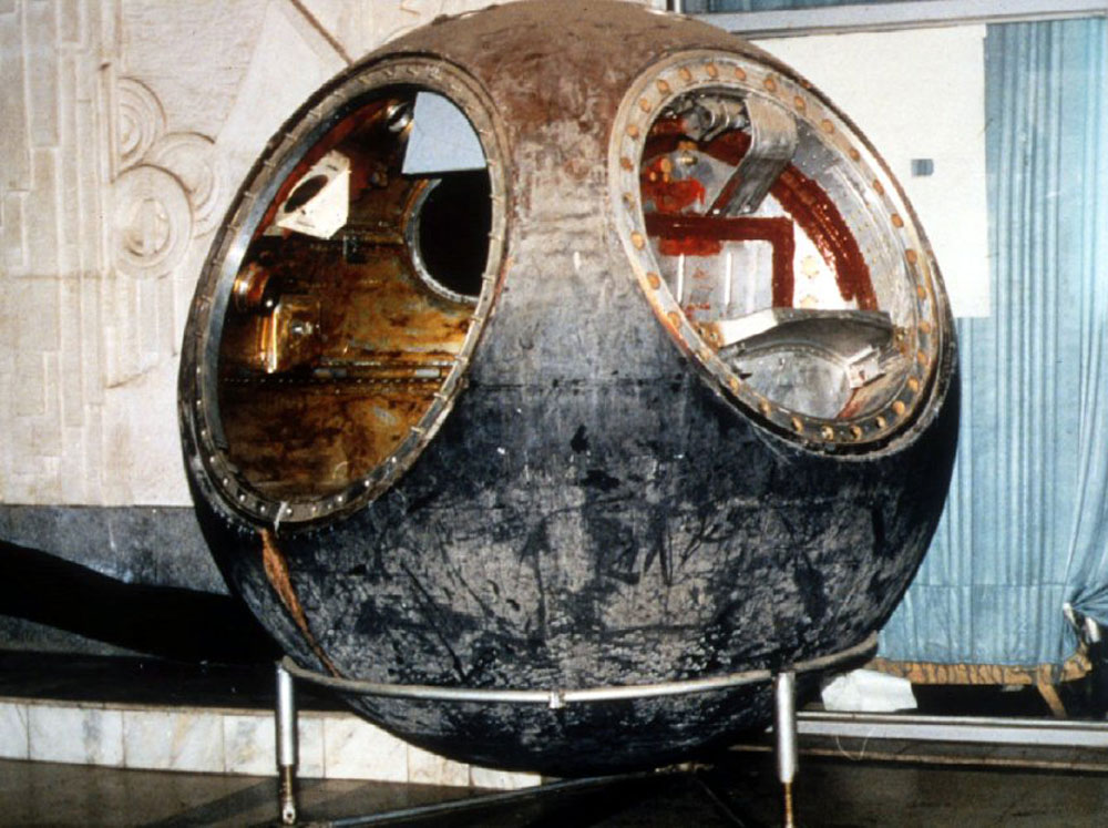 The Vostok 3KA-2 space capsule flown with the cosmonaut-mannequin Ivan Ivanovich on March 25, 1961.